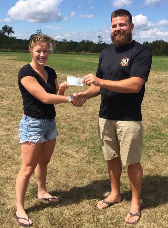 Erin with club President Rob Brouwer